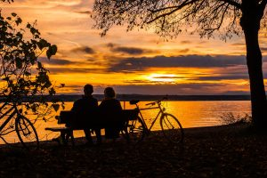 couple on bench in sunset